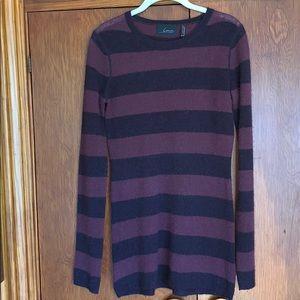 Line 100% cashmere purple striped sweater dress